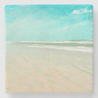 Turquoise Sky Beach Seascape Stone Coaster
