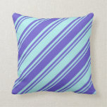 [ Thumbnail: Turquoise & Slate Blue Striped Pattern Pillow ]