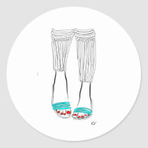 shoe, minimalist, illustration, slippers, feet, girl, morning, sandals, woman, turquoise, fashion, legs, artsprojekt, Sticker with custom graphic design