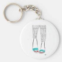 shoe, minimalist, illustration, slippers, feet, girl, morning, sandals, woman, turquoise, fashion, legs, artsprojekt, Keychain with custom graphic design