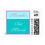 Turquoise Small Bat Mitzvah Postage Stamp