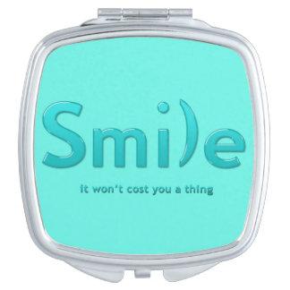 Turquoise Smile Ascii Text Compact Mirror