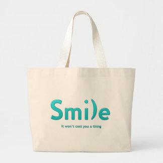 Turquoise Smile Ascii Text Tote Jumbo Tote Bag