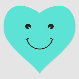 Turquoise  Smile Heart Sticker