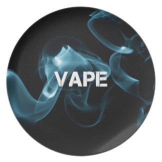 Turquoise Smoke Vape On Dinner Plate