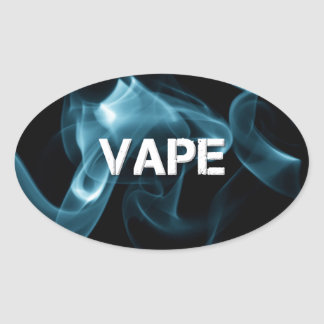 Turquoise Smoke Vape On Oval Sticker