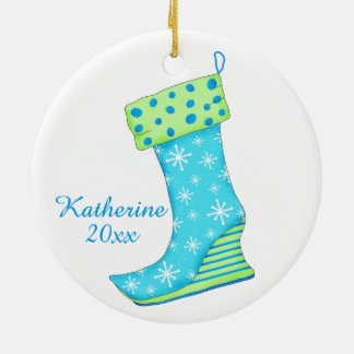 Turquoise Snowflake Art Shoe Lover Christmas Name Double-Sided Ceramic Round Christmas Ornament