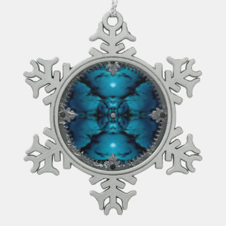 turquoise snowflake pewter christmas ornament