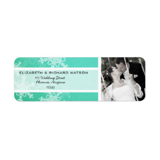 Turquoise Snowflakes Christmas Wedding Label