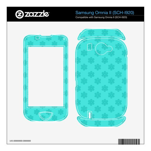 Turquoise snowflakes pattern samsung omnia II decals