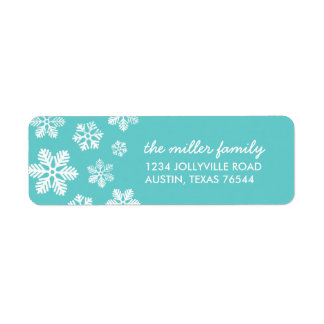 Turquoise Snowflakes Personalized Address Labels