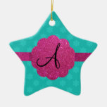 Turquoise snowflakes pink glitter monogram Double-Sided star ceramic christmas ornament