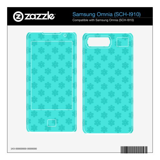 Turquoise snowflakes skins for samsung omnia