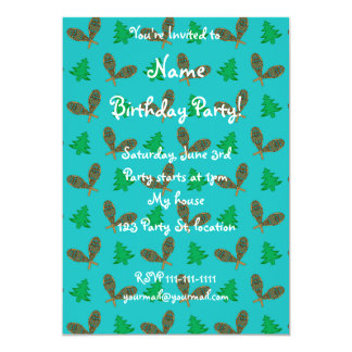 turquoise snowshoe pattern 5x7 paper invitation card