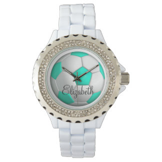 Turquoise Soccer Ball Her Name Bejeweled Wrist Watch