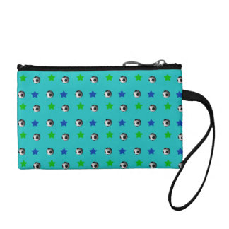 turquoise soccer balls and stars coin wallet
