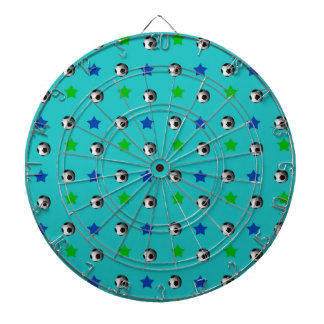 turquoise soccer balls and stars dartboards