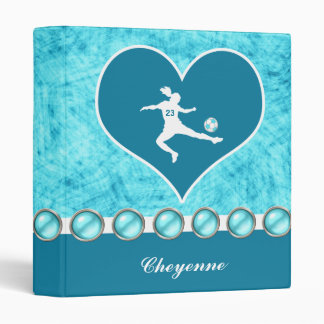 Turquoise Soccer Girl with Name and Number Binder