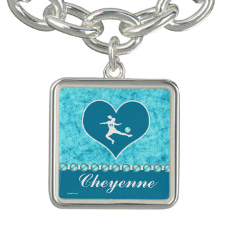 Turquoise Soccer Girl with Name and Number Bracelets