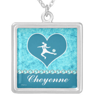 Turquoise Soccer Girl with Name and Number Silver Plated Necklace