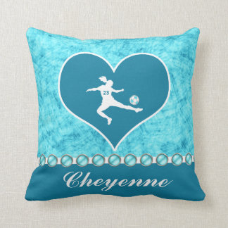 Turquoise Soccer Girl with Name and Number Throw Pillow