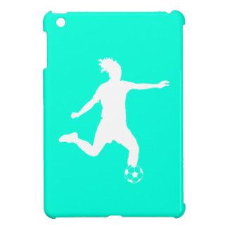 Turquoise Soccer Silhouette iPad Mini Case