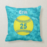 Turquoise Softball Pillow with her NAME and NUMBER
