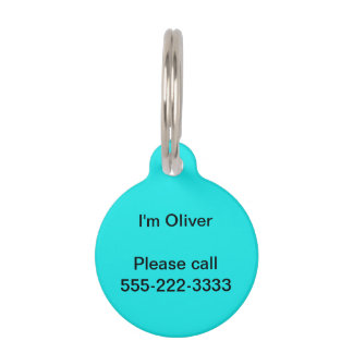 Turquoise Solid Color Pet Name Tags