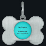 "Turquoise Solid Color Pet Name Tag<br><div class=""desc"">A bright,  bold,  colorful turquoise. Easily personalize this item by adding a name,  initials,  other text,  photo or logo.</div>"