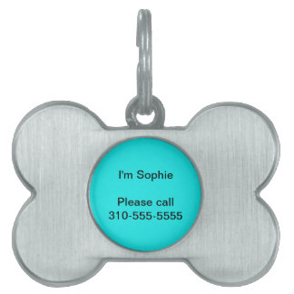 Turquoise Solid Color Pet Name Tag