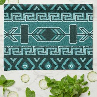 Turquoise Southwest Aztec Pattern Kitchen Towel