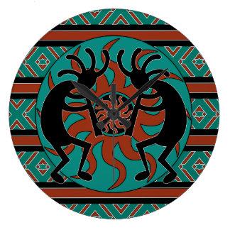 Turquoise Southwest Design Kokopelli Large Clock