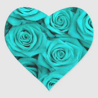 Turquoise Spectacular Roses Heart Sticker