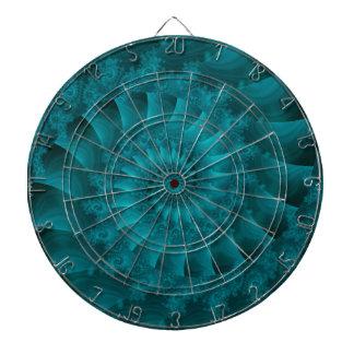 Turquoise Spiral Fractal Dart Board