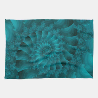 Turquoise Spiral Fractal Kitchen Towel