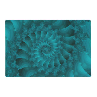 Turquoise Spiral Fractal Placemat