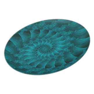 Turquoise Spiral Fractal Plate