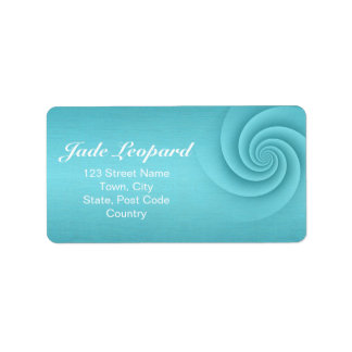 Turquoise Spiral in brushed metal texture Custom Address Label