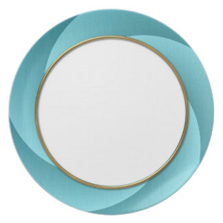 Turquoise Spiral in brushed metal texture Dinner Plate