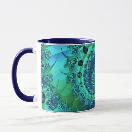 Turquoise Spiral Shell Fractal Mug