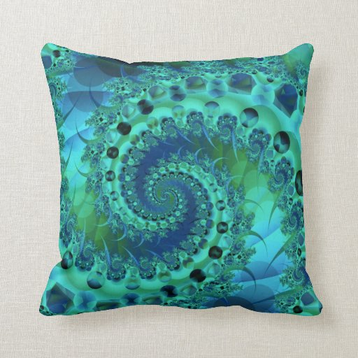 Turquoise Spiral Shell Fractal Throw Pillow