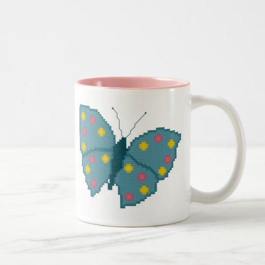 Turquoise Spotted Butterfly Mug