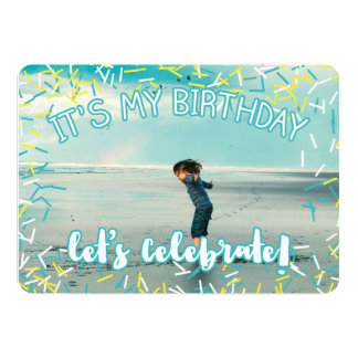 Turquoise Sprinkles | Custom Photo Birthday Party Card