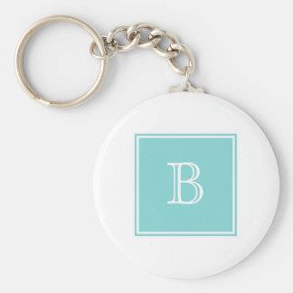 Turquoise Square Monogram Basic Keychain