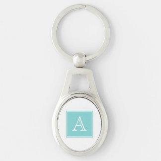 Turquoise Square Monogram Metal Keychain