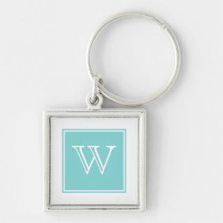 Turquoise Square Monogram Premium Keychain