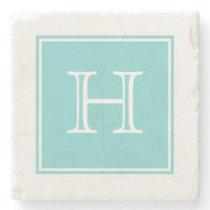 Turquoise Square Monogram Stone Coaster
