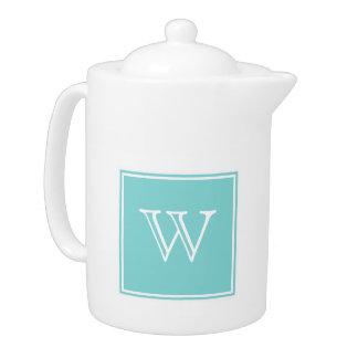 Turquoise Square Monogram Teapot