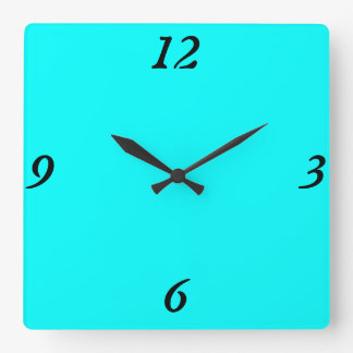Turquoise Square Wall Clock
