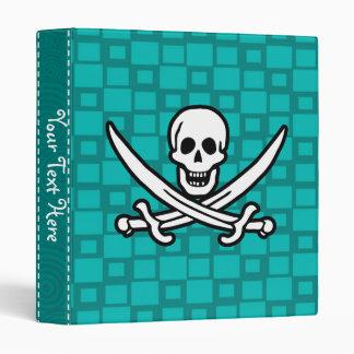Turquoise Squares Jolly Roger 3 Ring Binder